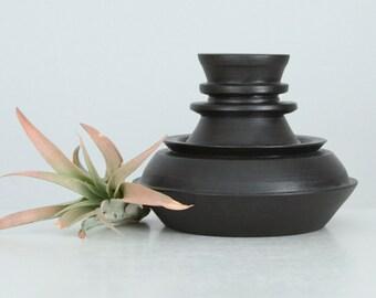 Modern Studio Pottery Vase Satin Black, Industrial Vessel No. 12, Short Satin Black Stacked Vase, One of a Kind Porcelain Vase