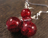 SALE Cranberry red crackle glass and silver handmade earrings