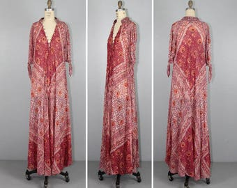 ADINI caftan / india dress / 1970s / festival dress / bohemian cotton gauze maxi dress