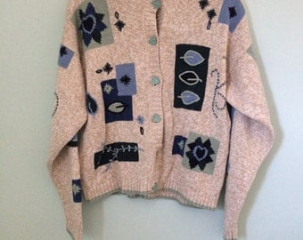 Vintage patchwork embroidered flowers sweater