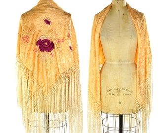 Vintage Flapper Shawl with Piano Fringe / Peach Pink Square Floral Embroidered Wrap / Art Nouveau / Hippie / Boho / Bohemian Gypsy