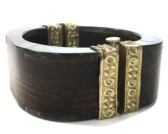 70s Indian Tribal Bracelet / Vintage 1970s Big Repousse Brass Wood Hinged Bangle / Hippie Boho Ethnic Bohemian Gypsy Statement Jewelry