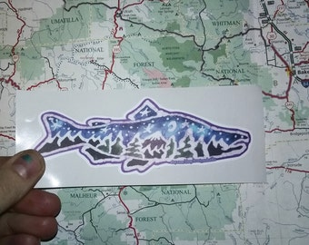 Fish Sticker with a Trees and a mountain-Vinyl