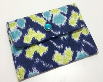 Womens Wallet, Blue Ikat Wallet, Fabric Wallet with Pockets and ID Pocket