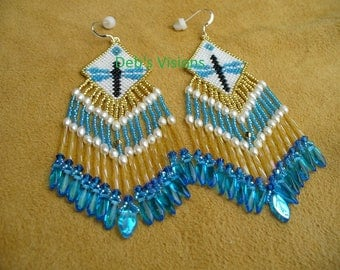 Native American Style Brick Stitched Dragonfly Earrings in Pearly White and Transparent AB Blue