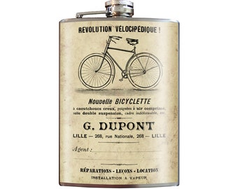 Bicyclette - 8oz Stainless Steel Flask - comes in a GIFT BOX -  by Trixie & Milo