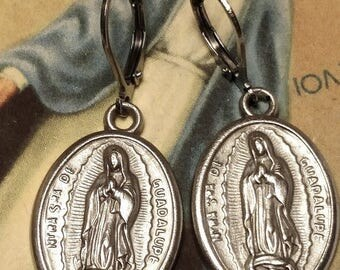 Day of the Dead Día de los Muertos Silver Drop Pierced Earrings Our Lady of Guadalupe Religious Medals Steel Lever Backs