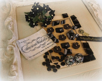 vintage and antique black glass sampler large jet glass nail head sew ons jet with silver luster buttons unUsual glass cabs CORO earrings