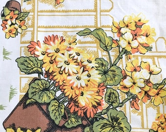 SALE - table cloth Yellow Orange floral accents vintage/retro shabby/cottage chic