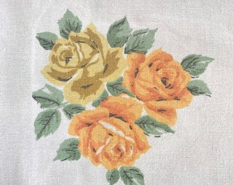 "SALE - Vintage table cloth Orange Yellow Roses retro shabby/cottage chic Wilendur 52"" x 60"" CUTTER"