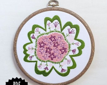 FLOWER PATCH - pdf embroidery pattern, embroidery hoop art, purple and green flower, french knots, close up flower design, spring flowers