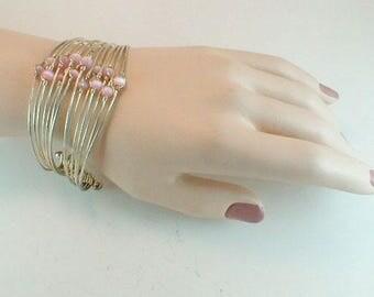 Wire Bracelet Pink Moonglow Beads Vintage