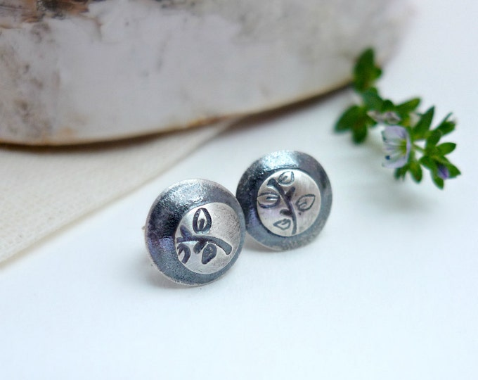 Sterling Silver Sprout Ear Buds, Hand Stamped Post Earrings