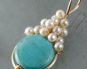 Turquoise  & White Tiny Pearl Wire Wrapped Pendant