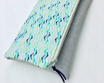 Fold over clutch, Extra large zippered pouch, mint chevron