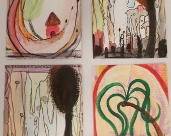 No. 102, ACEO Art Cards Editions & Originals Set of 4 by NoRaHzArT