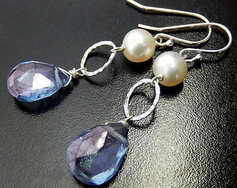 Blue Quartz Earrings, Mystic Quartz Teardrops, Pearl Earrings, Sterling Silver Drops