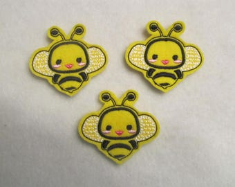 3 Felt Bee Applique Embellishments style pop