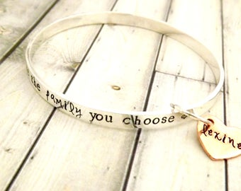 personalized bangle, stacking bangle, stacked bangle, personalized bracelet, silver bangle, gift for best friend, friends are family