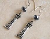 Ancient Greek Earrings Pyrite Silver Pyrite Jewelry Grecian Jewelry Architectural Jewelry Black Grey Earrings