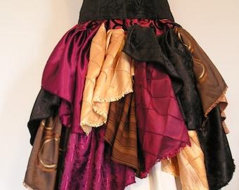 """Patchwork Knee-Length """"Pirate Treasure"""" Petal Scrap Ruffler Skirt"""