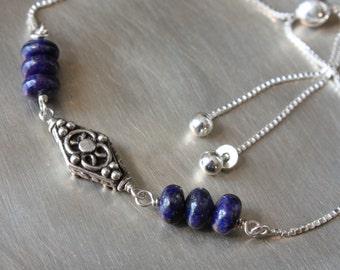 Lapis Lazuli Sliding Adjustable Bracelet, Sterling Silver Sliding Adjustable Bracelet, Sterling Silver Adjustable Bracelet, Box Chain, SS