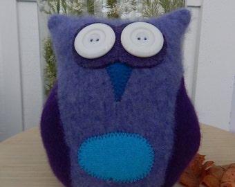 Recycled Cashmere Owl Tooth Fairy Pillow - Purple and Blue