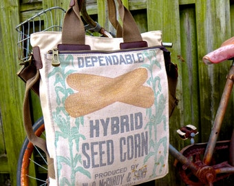 Dependable Hybrids - Fremont Iowa - Americana Vintage Seed Feed Sack Book Tote W- OOAK Canvas & Leather Tote .. Selina Vaughan