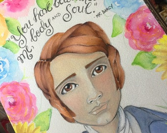 Jane Austen Quote / You Have Bewitched Me Body and Soul / Mr Darcy / Pride and Prejudice / Watercolor Fine Art Print