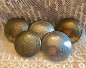 5 Vintage REAL Coin BUTTONS Foreign Coin Jewelry SUPPLIES Curiosity Cabinet Industrial Steampunk France Germany England  SetC