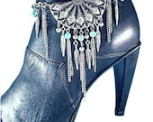 Turquoise Concho BOOT Chains Boot Jewelry Boot Bracelet Boot Bling or Necklace Western Feathers Strap Biker Motorcycle Lady Rider Fringe