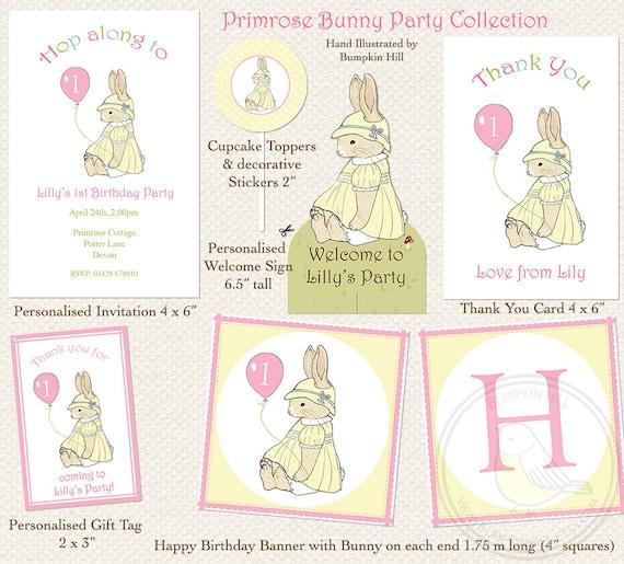 CUSTOM LISTING for Carol - Primrose Bunny Invitations, Bunny Birthday Banner & Welcome Sign