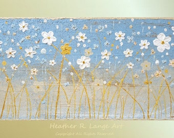 ORIGINAL Landscape Art Painting Heavily Textured Modern Home Decor Cherry Blossoms and Flowers Zen Peaceful Blue and White Made To Order