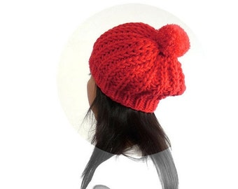 15% OFF SALE: Snow / Ski PomPom Slouch Hat for Women and Teens. Vermilion / Red. Vintage Style. Autumn / Harvest / Winter Fashion.