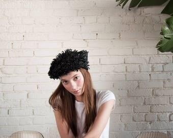 60s black woven shag cap / fringe beret hat / shaggy hat / 1635a