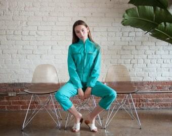 ST GERMAIN turquoise utilitarian jumpsuit / blue green jumpsuit / coverall playsuit / s / 2206d / B1