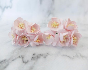 "10 1"" milky pink paper cherry blossom - paper flowers - mulberry paper cherry blossom"
