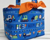 Easter Fabric Egg Hunt Candy Basket Storage Container - Beep Beep Construction Fabric