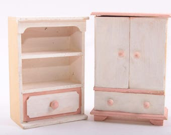 Doll Furniture, Armoire, Bookcase, Cabinet, Living Room, Bedroom, Set, Matching, Wooden ~ The Pink Room ~ 170204