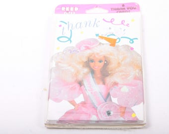 Barbie, Thank You, Greeting Cards, Package of 8, Unopened, Vintage, Supplies,  ~ The Pink Room ~ 160918
