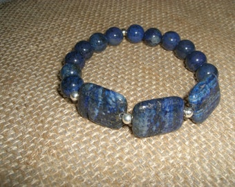 Lapis and sterling stretch bracelet