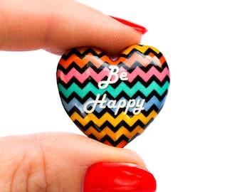 Polymer clay heart bead - colorful zigzag bead - Be Happy heart bead (1)