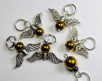 Hand Made Stitch Markers -- Harry Potter Quidditch -- The Golden Snitch