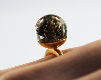 Heather's leaves Resin Ring, Gold-plated Sterling Silver Ring, Resin Jewellery, heather Jewelry, flower ring