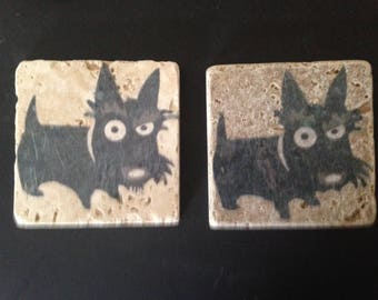 Pair of Travertine Coasters, Silly Scotty Dogs