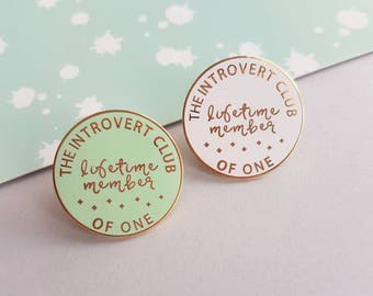 Introvert enamel pin, pin badge, funny pin, hard enamel badge, gift for friend, UK shop