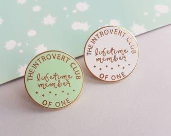 Introvert enamel pin, pin badge, funny pin, hard enamel badge, gift for friend, UK shop
