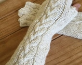 Off White / Cream Arm Warmers / Ivory Fingerless Gloves in 100% luxury alpaca Ready to ship