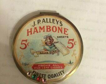 Southern Black Memorabilia Hambone Round Mirror Compact w/ Vintage Finish