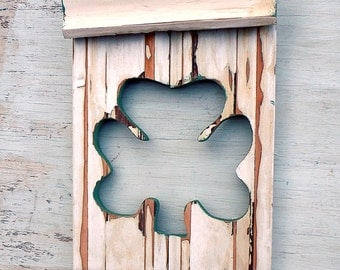 Wood Wall Shamrock, Reclaimed Wood Art, Irish Decor, Good Luck Symbol, Distressed Wood Decor, Rustic Wood Decor, Ireland Decor
